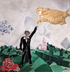 marc chagall with a cat