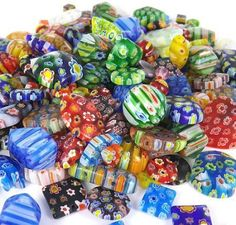 100 Gram, Over 100pcs 6mm~25mm Mix Shapes & Colors Millefiori Lampwork Glass Beads, Round, Square, Oval, Tube, Heart... Great Lot, Must See. Beading Station http://www.amazon.com/dp/B00AW66O02/ref=cm_sw_r_pi_dp_lhC-vb1113JM1