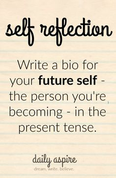 Journal Prompt, Daily Aspire, write a bio for your future self