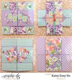 """Another infinity card I've made using the Graphic 45 Sweet Sentiments x paper collection; showing """"True Love Never Ends"""" as it unfolds. Card Making Tutorials, Card Making Techniques, Making Ideas, Fancy Fold Cards, Folded Cards, Graphic 45, Infinity Card, Never Ending Card, Sister Cards"""