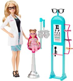Explore new careers in depth with the Barbie Careers complete play sets. From medicine to teaching, Barbie makes anything possible! The Barbie Careers Eye Doctor set brings everything info focus with