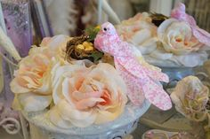 After making this rose arrangement, I decided a shabby chic birdie and nest would sit atop it beautifully. Debut Ideas, Got Party, Rose Arrangements, Nest, Projects To Try, Shabby Chic, Birds, Style Inspiration, Table Decorations