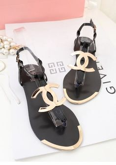 Chanel black & gold sandals