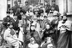 Queen Victoria (center), with her children and grandchildren, visited Saxe-Coburg and Gotha in Germany in 1894. Description from online.wsj.com. I searched for this on bing.com/images