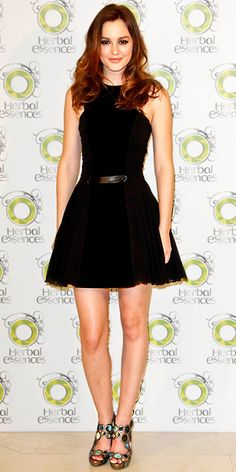 Black dress, Leighton Meester in Versus LBD and iridescent sandals