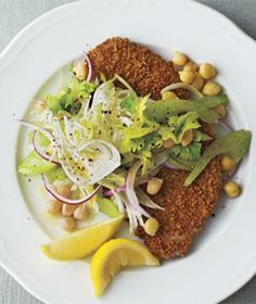 Oven-Fried Pork Cutlets With Fennel-Chickpea Slaw recipe