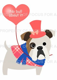Bulldog Valentine's Day Card by FocusforaCause on Etsy, $3.75