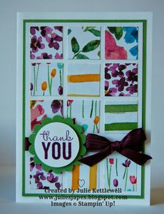 Julie's bold collage card features Painted Petals, Painted Blooms dsp, & more. All supplies from Stampin' Up!
