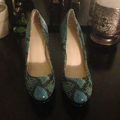 Pumps Turquoise and black snack skin look Calvin Klein heels size 5 worn once Calvin Klein Shoes Heels