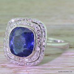 Art Deco 4.00 Carat Cushion Cut Sapphire & Double by GatsbyJewels
