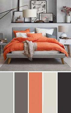 Orange and Gray Bedroom Gray orange Bedroom Color Scheme Bedroom Color Scheme Grey Orange Bedroom, Orange Bedrooms, Blue Bedroom, Living Room Color Schemes, Apartment Color Schemes, Color Schemes With Gray, Bedroom Colour Scheme Ideas, Bed Room Color Ideas, Color Schemes For Bedrooms