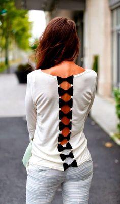 Cute white shirt with small black back bows fashion
