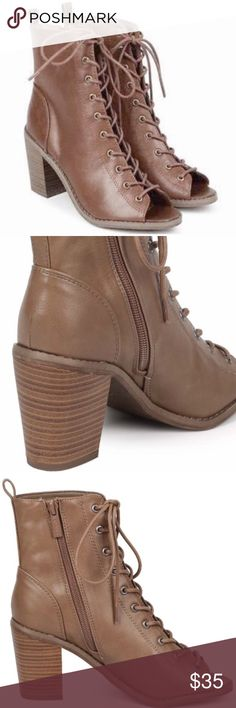 NEW Breckelles Lace Up Peep Toe Brown Booties 8 NEW Breckelles Lace Up Leatherette Peep Toe Dark Brown Stacked Block Wedge Heel Booties 8. True to size. 3-3.5 inch heel. Bundle and save! Breckelles Shoes Ankle Boots & Booties