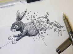 Geometric rabbit tattoo ideas