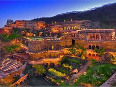 Neemrana Fort Palace Hotel, Rajasthan, India. Can't wait to return. I got engaged here, in the hanging gardens, at night time with all the fairy lights. Magic!