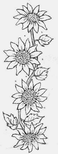 Embroidery sunflower sunflowers cross stitch 28 Ideas for 2019 Sunflower Quilts, Sunflower Pattern, Sunflower Stencil, Sunflower Drawing, Tole Painting, Fabric Painting, Colouring Pages, Coloring Books, Sunflower Coloring Pages