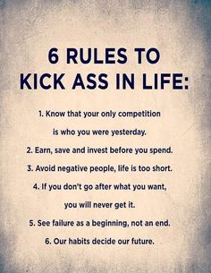 6 rules for the ass in life - powerful quotes about life, . - 6 rules for the ass in life – powerful quotes about life, - The Words, Powerful Quotes About Life, Happy Quotes About Life, Quotes On Life, Motivational Quotes About Life, Quotes About Caring, Life Is Unpredictable Quotes, Quotes About Kids, Living Life Quotes