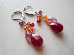 JUICY!!  Lisa Chandler Jewelry — Ruby, Sapphire, Garnet, Carnelian, Sterling Earrings -- One-of-a-Kind (F985)