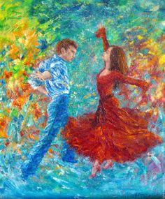 """Купить """"Мгновение танца"""". Авторская картина маслом на холсте танец - картина маслом, картина в подарок"""