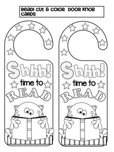 free ~ READING CUT & COLOR DOOK KNOB CARDS from CopyCats {formerly The Primary Reader} on TeachersNotebook.com -  (1 page)  - Enjoy these fun freebies! Great for kicking off reading programs, ice breakers, time fillers and summer school! Just duplicate on cardstock, cut and color!