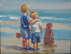 two boys blonde boys on beach chocolate lab beach by LucelleRaad Boy On Beach, Brother Pictures, Indian Traditional Paintings, The Joy Of Painting, Rooster Art, Blonde Boys, Diy Canvas Art, Beach Scenes, Figurative Art