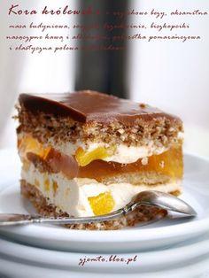 Składniki: (na formę cm z wysokim brzegiem) Cias… Polish Desserts, Polish Recipes, Cookie Desserts, Baking Recipes, Cake Recipes, Pavlova, Pudding Cake, Pumpkin Cheesecake, Piece Of Cakes