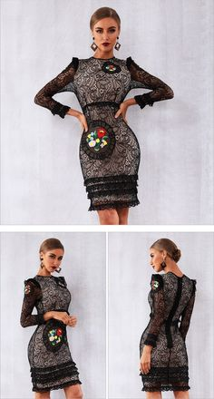 Celebrity Black Long Sleeve Lace Ruffles Going Out Midi Dress Club Dresses, Sexy Dresses, Vintage Dresses, Casual Dresses, Bodycon Outfits, Bodycon Dress, Boho Dress, Knit Dress, Clubwear Dresses