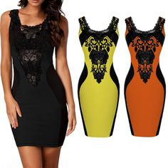 Sleeveless Lace Decorated Patchwork Black Dress