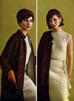 Models wearin the Bernat Mohair Collection, 1963.