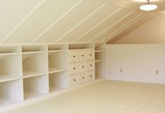101 best empty attic images on pinterest attic spaces attic maybe you can do this for your house oaf built in storage in a loft space i especially like the idea of shelves and drawers but would need space to hang solutioingenieria Choice Image