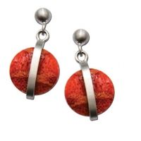 UNIGUE STERLING SILVER ROUND CORAL DANGLE EARRINGS