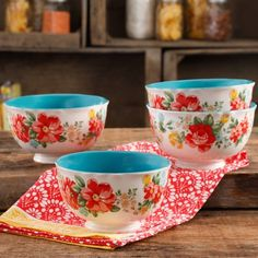 """Free Shipping on orders over $35. Buy The Pioneer Woman Vintage Floral 6"""" Footed Bowl Set, Set of 4 at Walmart.com"""