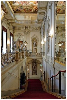 Palais Kinsky our halls on way to class Beautiful Architecture, Beautiful Buildings, Monuments, Palace Interior, Grand Staircase, Stairs, Fantasy Castle, Austria Travel, South Tyrol