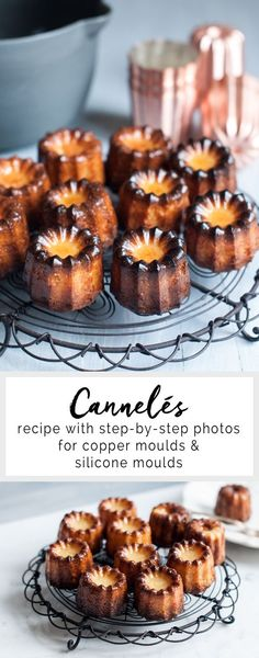 Cannelés are golden and crispy cakes with a custardy centre, flavoured with a hint of rum and/or vanilla. Recipe for Cannelés with step-by-step photos, with instructions for using copper cannelé moulds or silicone cannelé moulds. Mini Desserts, Easy Desserts, Delicious Desserts, Yummy Food, Sweet Recipes, Cake Recipes, Dessert Recipes, Mini Cakes, Crack Crackers