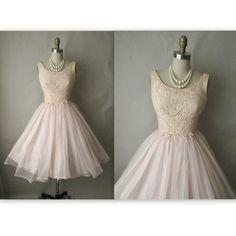 50's Chiffon Dress // Vintage 1950's Pink Chiffon Full Wedding Party Prom Dress Tea Gown XS. $112.00, via Etsy.