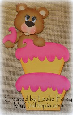 A Birthday Bear  Premade Scrapbooking Embellishment by MyCraftopia, $6.95