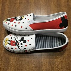 eef124eede Items similar to Hand Painted Disney Shoes - Vans - Mickey Mouse and Minnie  Mouse on Etsy