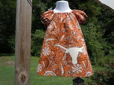Texas Longhorn appliqued peasant dress 2T 3T 4T. $35.00, via Etsy.