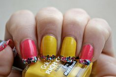 Cheerful French Manicure in yellow and coral  #nails #nailpolish #nailart  - bellashoot.com