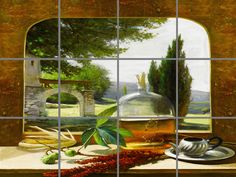 Tuscan Window Ceramic Tile Mural