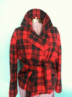 Vintage Plaid Flannel Jacket - Womens LIMITED Red and Black Plaid Wool Jacket