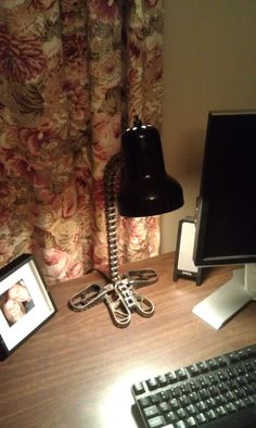 Motocross chain and footpeg desk lamp by MotoMetalFab on Etsy, $80.00