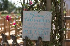 """Lovely Ceremony Sign-age Idea - """"Pick a seat, not a Sign"""" Copyright www.sabrinastockwellphotography.co.uk www.theferryhouseinn.co.uk"""