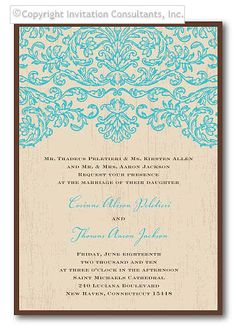 Turquoise Baroque - Wedding Invitations by Invitation Consultants. (Item # KR-TRCOT001-D )