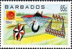 Stamp: Various kites (Barbados) (Phila Nippon '01, Japan) Mi:BB 1008,Sn:BB 1007,Yt:BB 1053