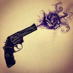 ❤guns and Roses ❤ Et Tattoo, Piercing Tattoo, Tattoo Drawings, Piercings, Rose Tattoos, Flower Tattoos, Body Art Tattoos, Tatoos, Gun Tattoos