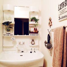 ステッカー/ニトリ/ナチュラルも男前も好き/洗面所/セリア/フェイクグリーン…などのインテリア実例 - 2015-10-26 21:30:37 | RoomClip(ルームクリップ) Washroom, My Room, Layout, Mirror, Storage, Interior, House, Furniture, Nitori