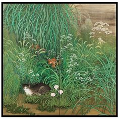 1stdibs - Kagayama Hakuho Screen Painting of Cat in Summer Garden explore items from 1,700  global dealers at 1stdibs.com