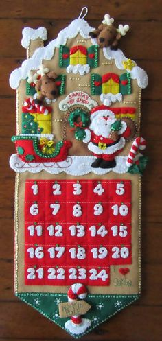Bucilla Advent Calendar Completed by MissingSockStitchery on Etsy Christmas Runner, Felt Christmas Decorations, Felt Christmas Ornaments, Christmas Pillow, Christmas Art, Christmas Stockings, Felt Crafts, Advent Calendar, Etsy