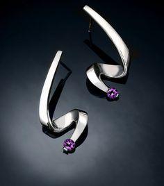Pendientes Amatista y plata Argentium - febrero piedra - cuelga - púrpura - joyas de piedras preciosas - mensajes - 2380